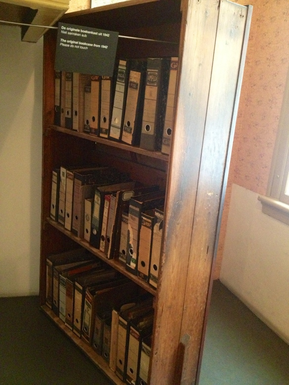 The bookshelf that hid where Anne Frank, her family, and another family hid behind for two years.