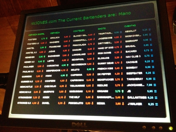 "The ""stock market"" board!"