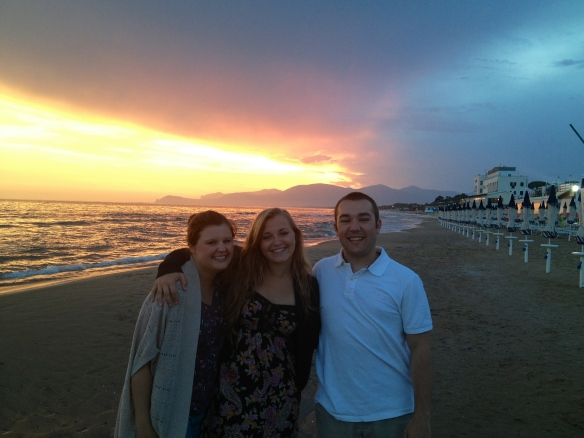 Courtney, Panc, and I on the beach at sunset on our last night in Sperlonga!